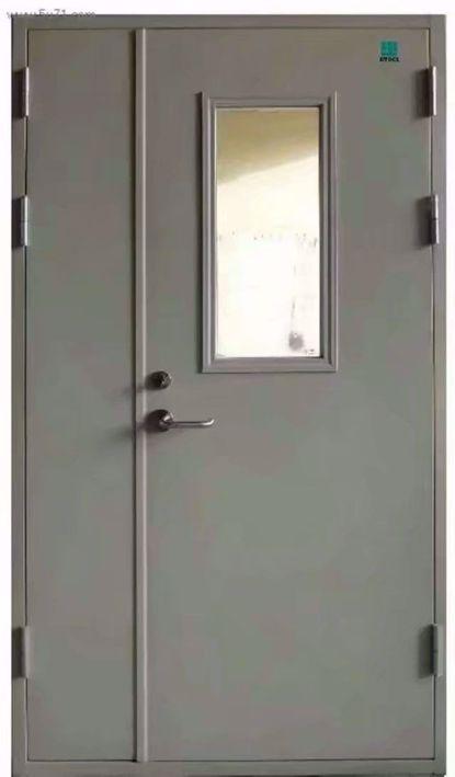 带视窗子母钢质防火门【银白色】